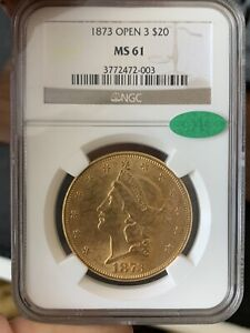 1873 $20 GOLD LIBERTY HEAD OPEN 3 MS 61 NGC CAC SUPERB STRIKE