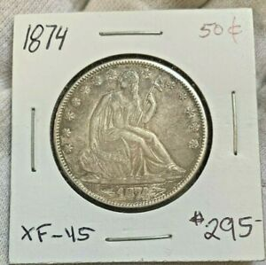 NICE   1874 ARROWS   LIBERTY SEATED 50C   TOUGH DATE   GREAT LUSTER   CHOICE XF