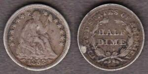1853 WITH ARROWS LIBERTY SEATED HALF DIME        UAER