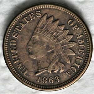 1863 INDIAN HEAD CENT A GREAT LOOKING HIGHER GRADE CIRCULATED CENT.