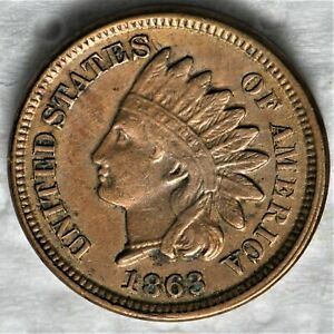 1863 INDIAN HEAD CENT A BEAUTIFUL ORIGINAL HIGHER GRADE CIRCULATED CENT.