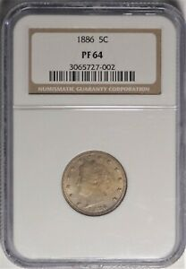 1886 5C NGC PF 64 PQ NEAR GEM PROOF PR LIBERTY V NICKEL KEY DATE COIN