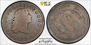 1795 THREE LEAVES FLOWING HAIR SILVER DOLLAR PCGS G DETAIL   RIM DAMAGE