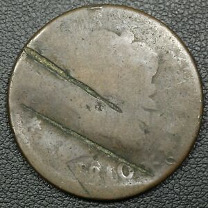1810/09 CLASSIC HEAD COPPER LARGE CENT   BADLY DAMAGED & BENT