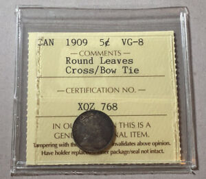 CANADA 1909 5 CENTS SILVER NICKEL ROUND LEAVES CROSS OVER BOW TIE ICCS VG8