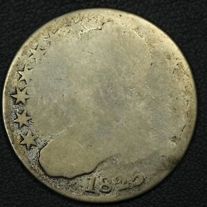 1825 CAPPED BUST SILVER HALF DOLLAR   SCRATCHES & CLEANED