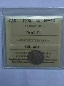 CANADA 1900 OVAL 0 SILVER VICTORIA 5 FIVE CENT 5C NICKEL ICCS EF 40