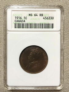 CANADA 1916 LARGE 1 ONE CENT 1C ANACS GRADED MS64 RB