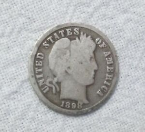 SILVER ANTIQUE 1898 BARBER DIME WITH GOOD DETAILS