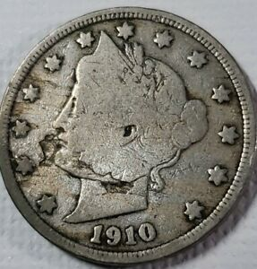 1910 LIBERTY V NICKEL WITH LAMINATION ERROR ON OBVERSE