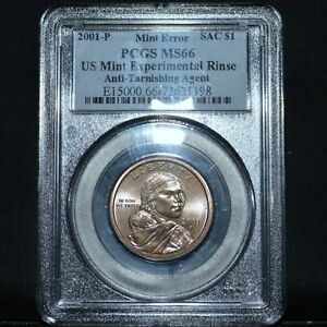 Click now to see the BUY IT NOW Price! 2001 P $1 SACAGAWEA DOLLAR  PCGS MS 66  EXPERIMENTAL RINSE MINT ERRORTRUSTED