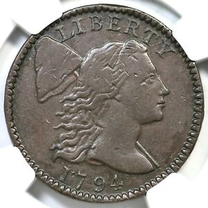 1794 S 72 R 2 NGC XF 45 HEAD OF 95 LIBERTY CAP LARGE CENT COIN 1C