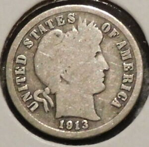 BARBER DIME   1913   HISTORIC SILVER    $1 UNLIMITED SHIPPING