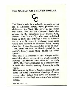 PRISTINE GENERAL GSA CARD FOR CARSON CITY GSA DOLLAR ORIGINAL NICE COA 99C SHIP