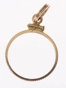 14K GOLD SCREW TOP COIN BEZEL PENDANT FOR 15MM $1 GOLD INDIAN PRINCESS COIN
