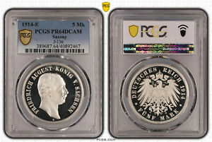Click now to see the BUY IT NOW Price! SAXE 5 MARK 1914 E FRIEDRICH AUGUST PP PCGS CERTIFI PR64DCAM 59131