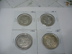 Click now to see the BUY IT NOW Price! LOT OF 4  USA ONE  1 $ DOLLAR   SILVER COINS   PIECES   90      LOT D