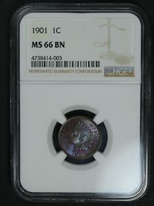 1901 INDIAN HEAD COPPER CENT NGC MS 66 BN   GORGEOUS COLOR