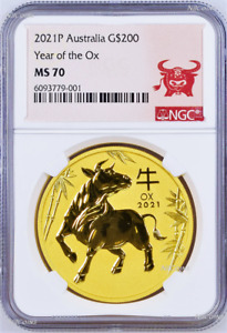 Click now to see the BUY IT NOW Price! 2021 P AUSTRALIA BULLION GOLD $200 LUNAR YEAR OF THE OX NGC MS70 2 OZ COIN
