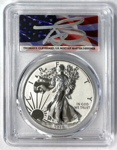 Click now to see the BUY IT NOW Price! THOMAS CLEVELAND SIGNED 2019 S $1 SILVER EAGLE ENHANCED REVERSE PROOF PCGS PR70