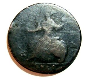 1739 GEORGE II ENGLISH/ COLONIAL AMERICAN 1/2 PENNY NEW ENGLAND FIND  AS IS