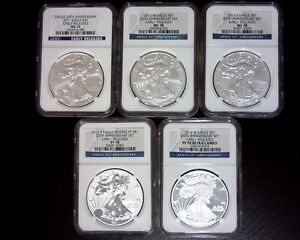 2011 SILVER EAGLE 25TH ANNIVERSARY 5 COIN SET   EARLY RELEASES NGC MS70 PF70