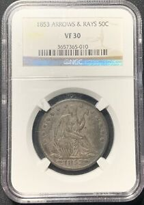 1853 ARROWS AND RAYS 25C SEATED LIBERTY HALF DOLLAR NGC VF 30