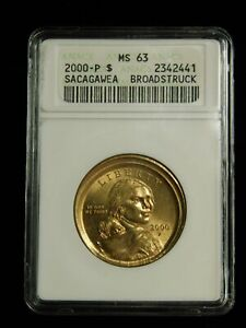Click now to see the BUY IT NOW Price! 2000 P $1 SACAGAWEA DOLLAR   ANACS MS63 W BROADSTRUCK ERROR