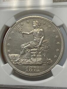 1874 CC TRADE DOLLAR NGC UNC DETAILS CLEANED