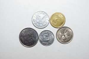 WORLD COINS GREAT GP. FROM ALLOVER LOT OF 5 COINS W/ UNC OR HIGH GRADE VALUE B66