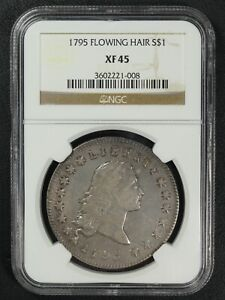 1795 TWO LEAVES FLOWING HAIR SILVER DOLLAR NGC XF 45