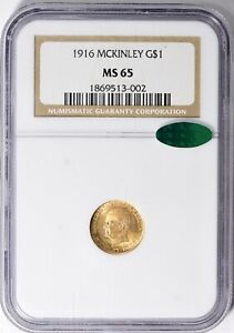 1916 MCKINLEY $1.00 GOLD NGC MS 65 CAC