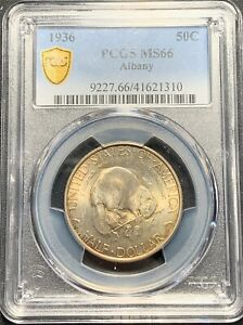 1936 ALBANY 50C SILVER COMMEMORATIVE HALF PCGS MS 66   SUPERB COIN