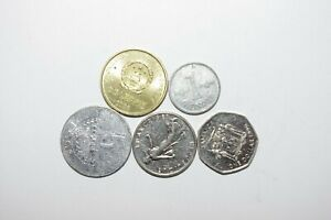WORLD COINS GREAT GP. FROM ALLOVER LOT OF 5 COINS W/ UNC OR HIGH GRADE VALUE B22