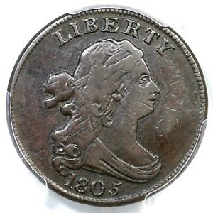 Click now to see the BUY IT NOW Price! 1805 C 3 R 4 PCGS VF 30 DRAPED BUST HALF CENT COIN 1/2C