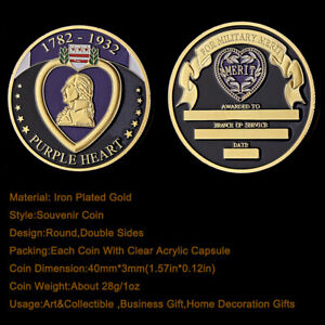COIN 1782 1932 PURPLE HEART MEDAL GIFT FOR THE MILITARY MERITS GOLD PLATED