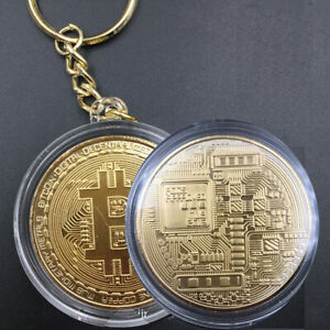 GOLD PLATED KEYCHAIN BITCOIN METAL KEY RING 1PC COLLECTIBLES IMITATION ART GIFT