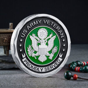MILITARY ARMY VETERAN COMMEMORATIVE COIN COLLECTIBLE US PROUDLY SERVED CHALLENGE