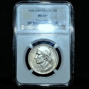 1935/1934 S BOONE COMMEMORATIVE 50C  NGC MS 66   PLUS UNCIRCULATED 34TRUSTED