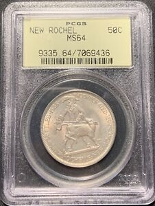 1938 NEW ROCHELLE 50C SILVER COMMEMORATIVE HALF PCGS MS 64   OLD GREEN HOLDER