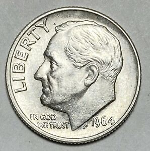 1964 ROOSEVELT DIME 10 CENTS 0.900 SILVER CIRCULATED COIN   2307
