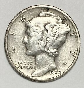 1942 S MERCURY DIME 10 CENT 0.900 SILVER WWII ERA CIRCULATED COIN  3333