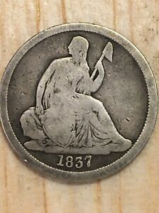 1837 SEATED LIBERTY DIME NO STARS LARGE DATE