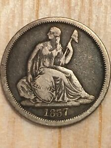 1837 SEATED LIBERTY DIME NO STARS LARGE DATE  ORIGINAL