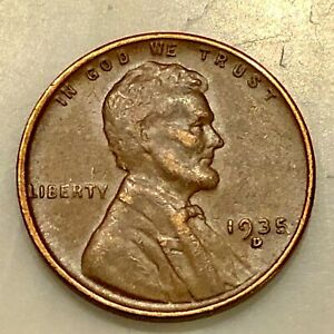 SHARP 1935 D LINCOLN PENNY. YOUR ACTUAL COIN IN PHOTO. NICE EXAMPLE