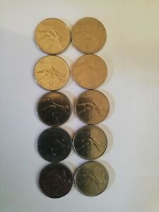 ITALY LOT 10 DIFFERENT YEAR 50 LIRE COIN 1963 67 70 74 77 78 79 81 82 88