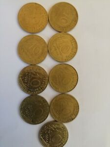 FRANCE LOT 9 DIFFERENT YEAR 10 CENTIMES COIN 1968 73 74 77 79 85 90 94 98