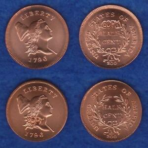 GALLERY MINT MUSEUM TWO 1796 WITH POLE TO CAP HALF CENTS MATCHED PAIR       RETV