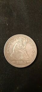 1853 P WITH ARROWS & RAYS SEATED LIBERTY QUARTER HIGHER GRADE NICE DETAILS