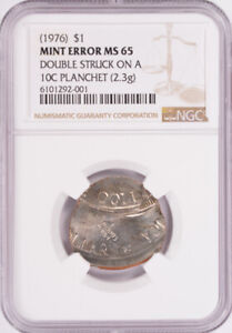Click now to see the BUY IT NOW Price! NGC $1 1976 BICENTENNIAL IKE DOLLAR ON DIME PLANCHET & DOUBLE STRUCK MS65